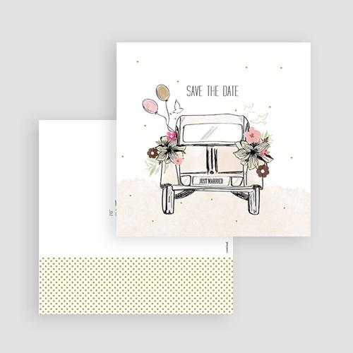 Save The Date Karten Hochzeit Vintage Just Married, 10 cm x 10 cm gratuit