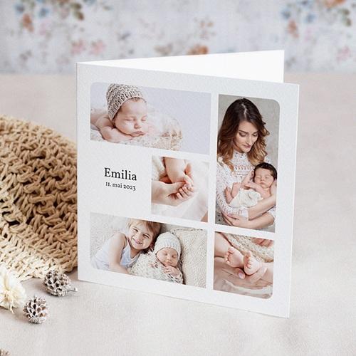Geburtskarten für Mädchen Multifotos, Quadrat, Klappkarte