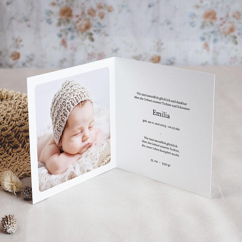 Geburtskarten für Mädchen Multifotos, Quadrat, Klappkarte pas cher