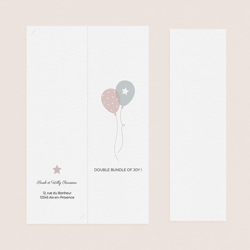 Geburtskarten für Zwillinge Luftballons, 3 Fotos, Lesezeichen pas cher