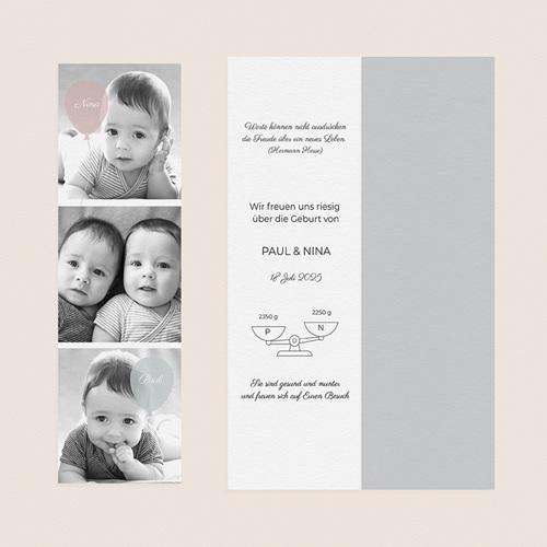 Geburtskarten für Zwillinge Luftballons, 3 Fotos, Lesezeichen gratuit