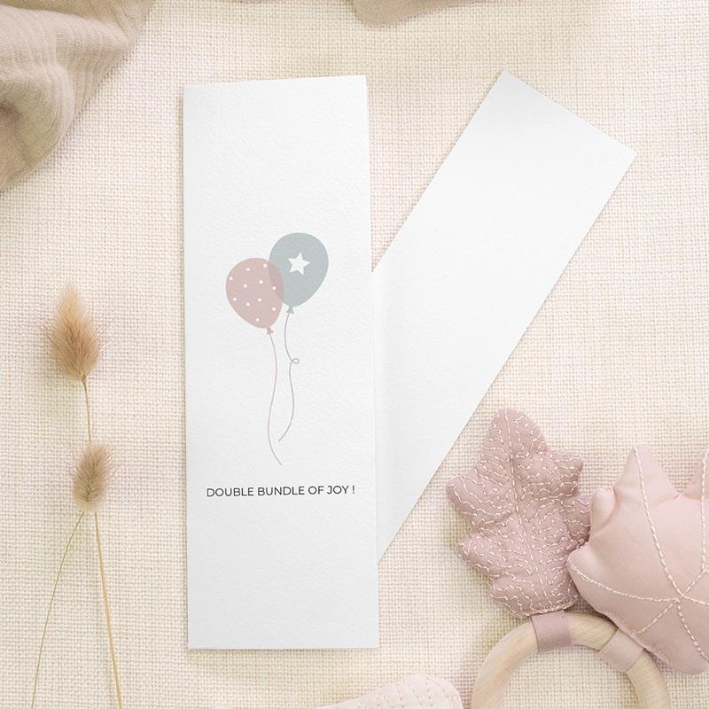 Geburtskarten für Zwillinge Luftballons, 3 Fotos, Lesezeichen