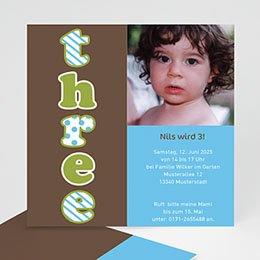 Einlegekarte Kindergeburtstag Three drei trois