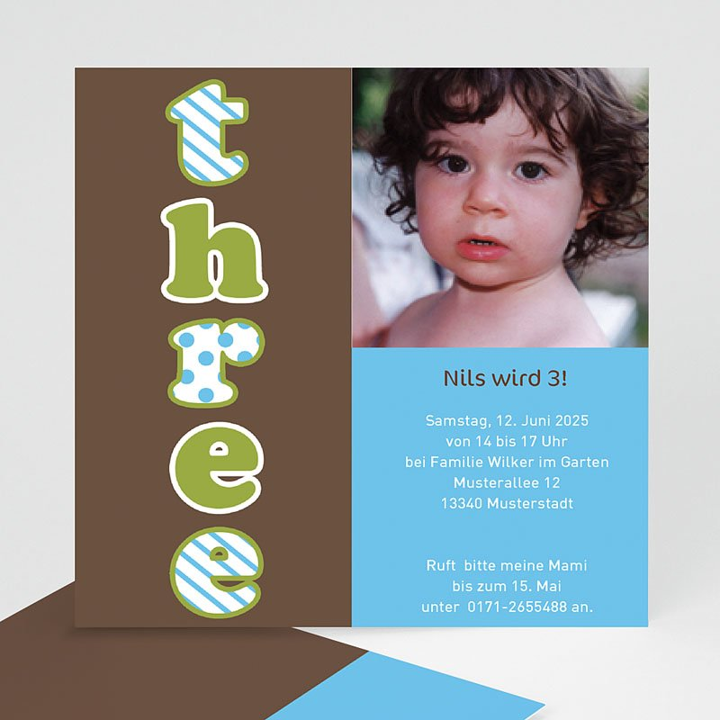 Einladungskarten Geburtstag Jungen Three drei trois