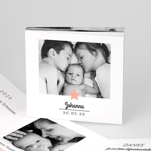 Geburtskarten mit Fotos Der rosa Stern, Leporello-Karte