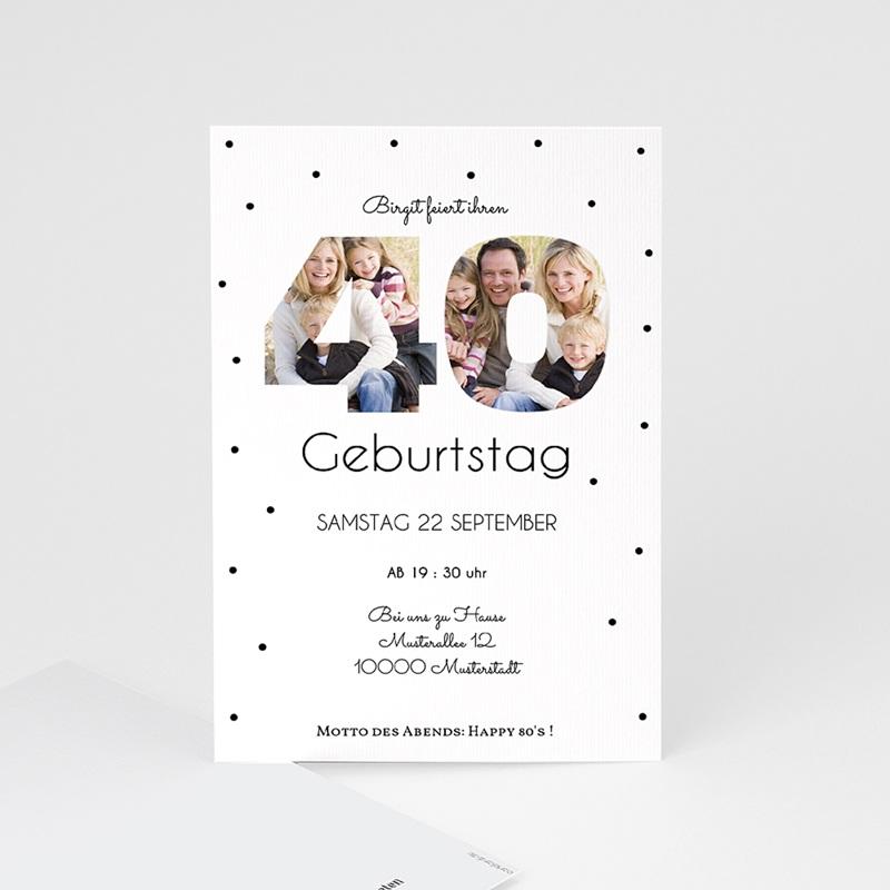 Erwachsener Einladungskarten Geburtstag Zahlen 40, Fotos, 10 x 15 cm