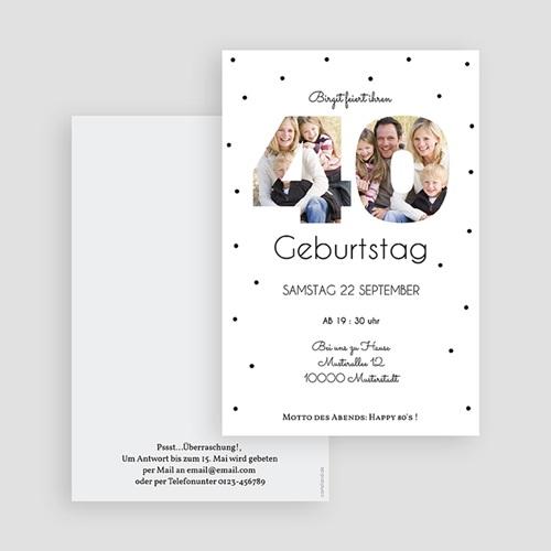 Erwachsener Einladungskarten Geburtstag Zahlen 40, Fotos, 10 x 15 cm gratuit