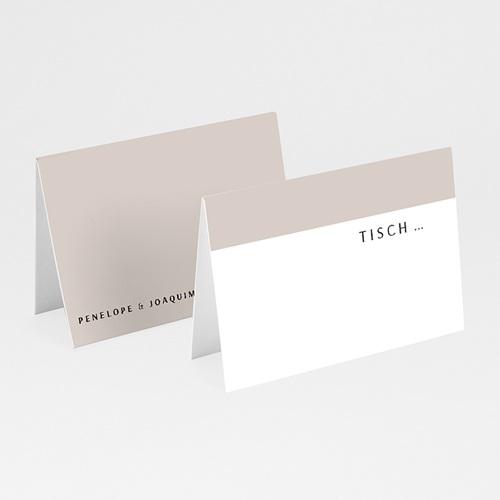 Tischkarten Hochzeit Mokka Creme, 7,5 x 5,2