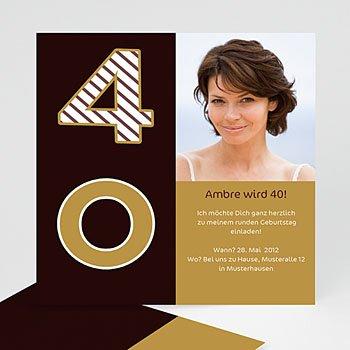 Runde Geburtstage - Stilvolle Einladungskarte zum 40 Geburtstag - 1
