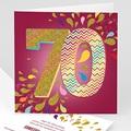 Erwachsener Einladungskarten Geburtstag Collage 70 Jahre, 1 Foto, Relieflack