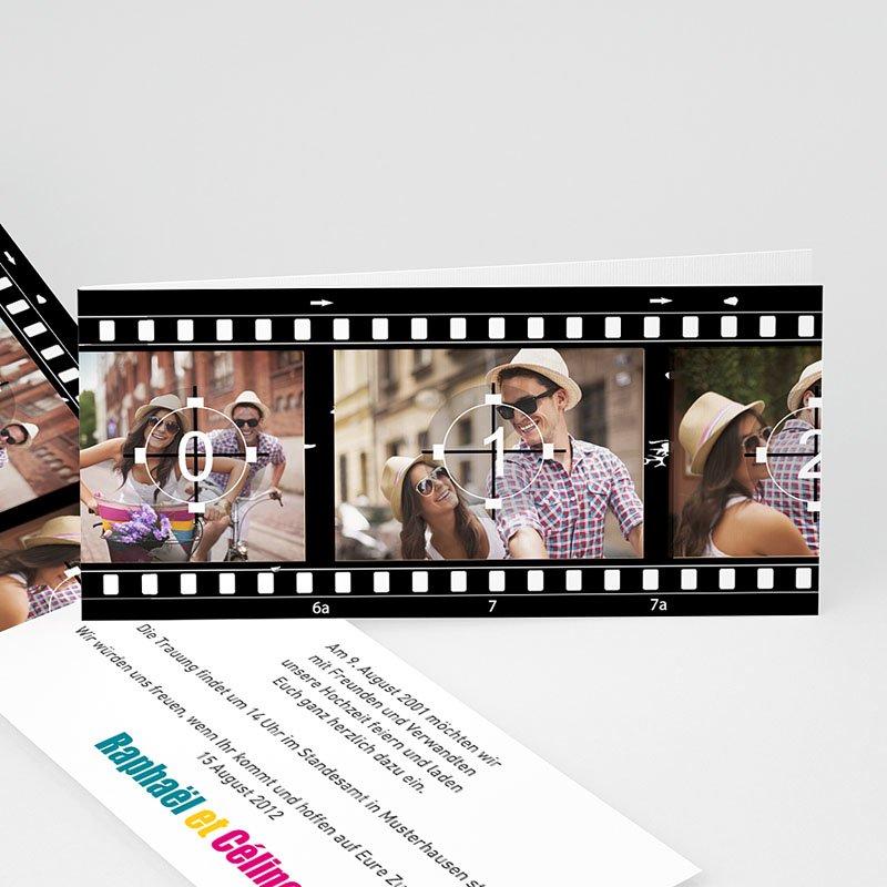 Schwarz-Weiß Hochzeitseinladungen Film ab