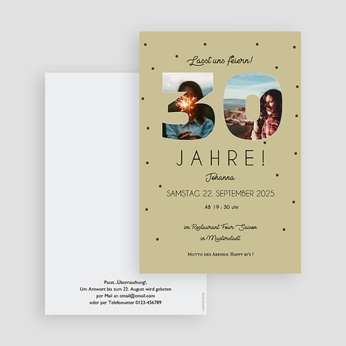 30 Jahre Alt Einladungskarten Geburtstag Zahlen 30, Fotos, 10 x 15 cm gratuit