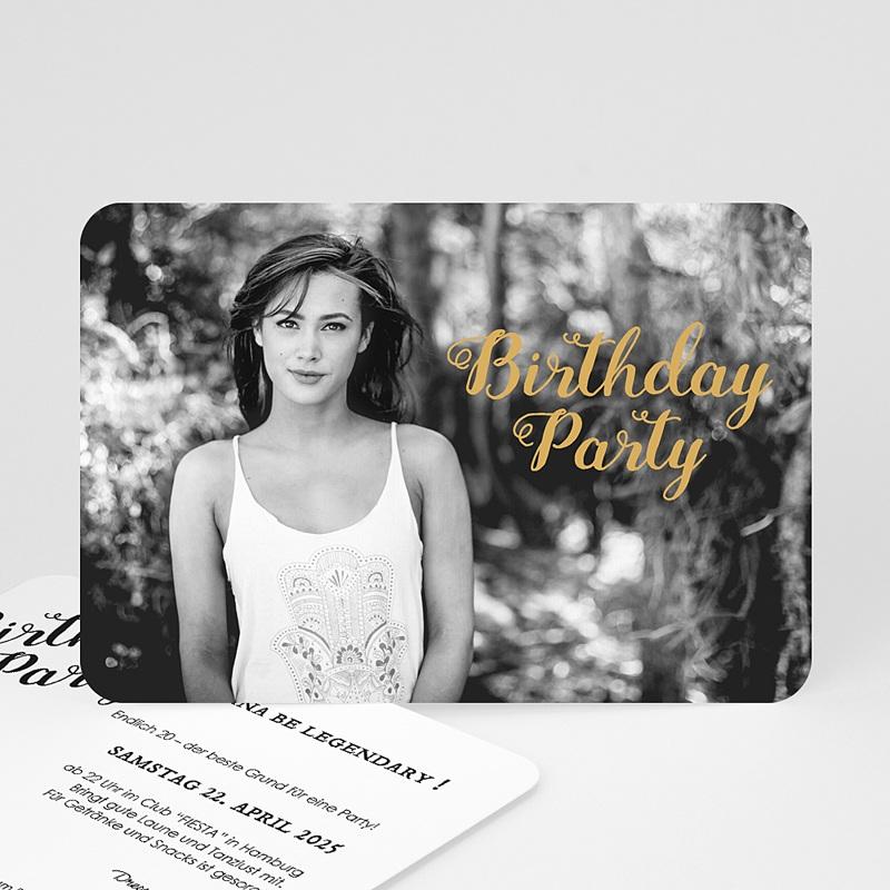 20 Jahre Alt Einladungskarten Geburtstag Birthday, Goldprägung, Foto, 16,7 x 12