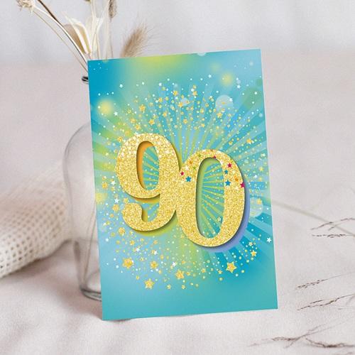 90 Jahre Alt Einladungskarten Geburtstag Festlich, 90 Jahre, Relieflack