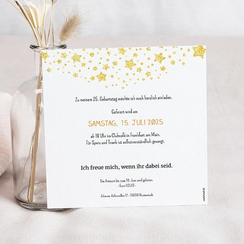 Erwachsener Einladungskarten Geburtstag 25 Jahre, Quadrat, Relieflack pas cher