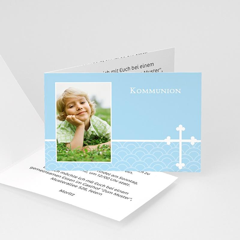Einladungskarten Kommunion Jungen - Elegantes Kreuz 8404 thumb