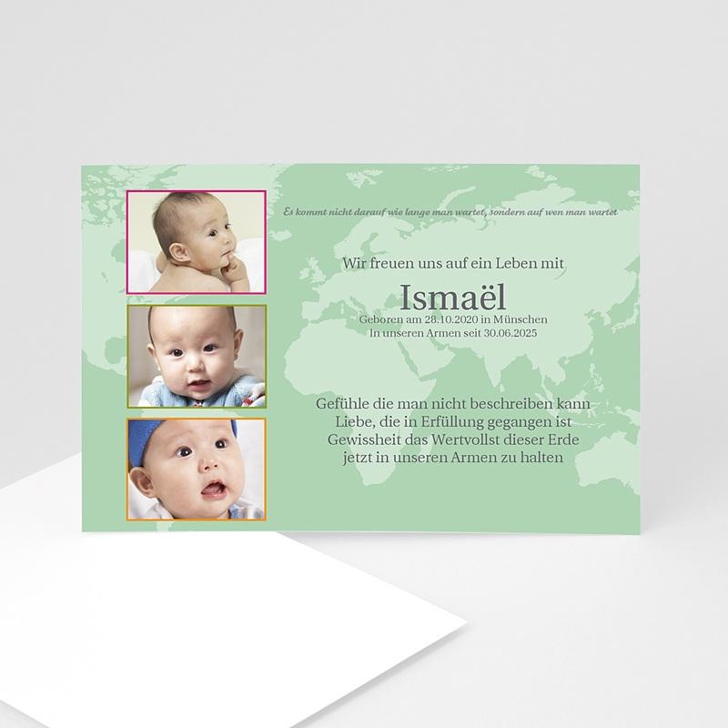 Adoptionskarten für Mädchen Grun gelb rosa