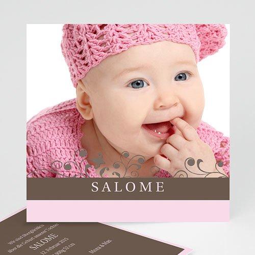 Geburtskarten für Mädchen - Marie - rosa und grau 8424