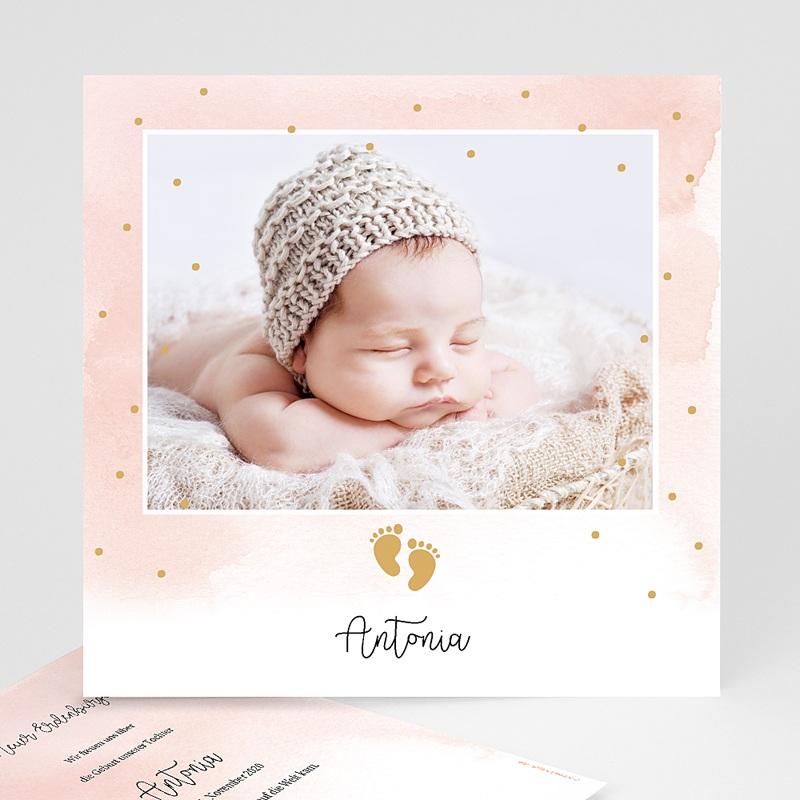 Geburtskarten für Mädchen Kleine Fußstapfen, Goldprägung