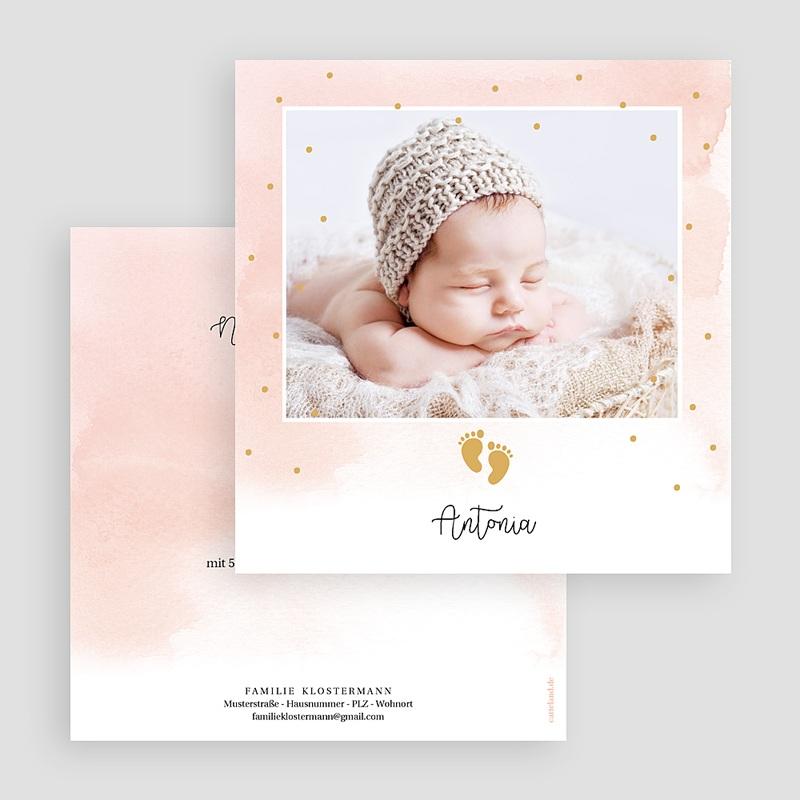 Geburtskarten für Mädchen Kleine Fußstapfen, Goldprägung gratuit