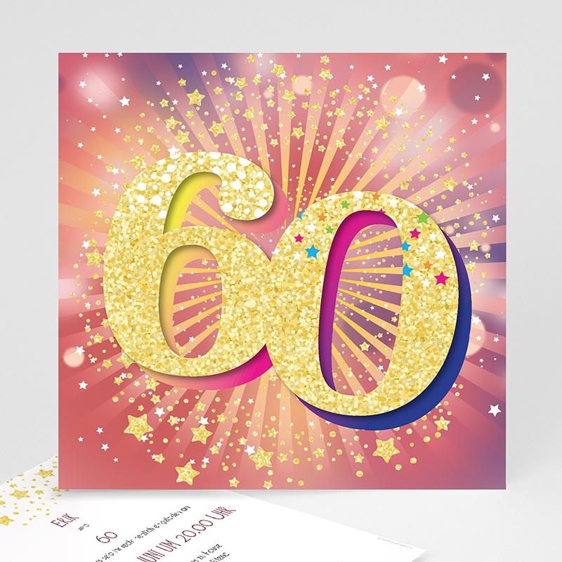 60 Jahre Alt Einladungskarten Geburtstag 60 Jahre, Relieflack, 14.5 x 15 cm