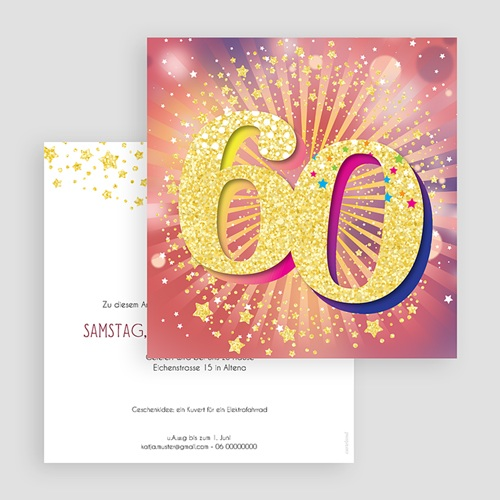 60 Jahre Alt Einladungskarten Geburtstag 60 Jahre, Relieflack, 14.5 x 15 cm gratuit