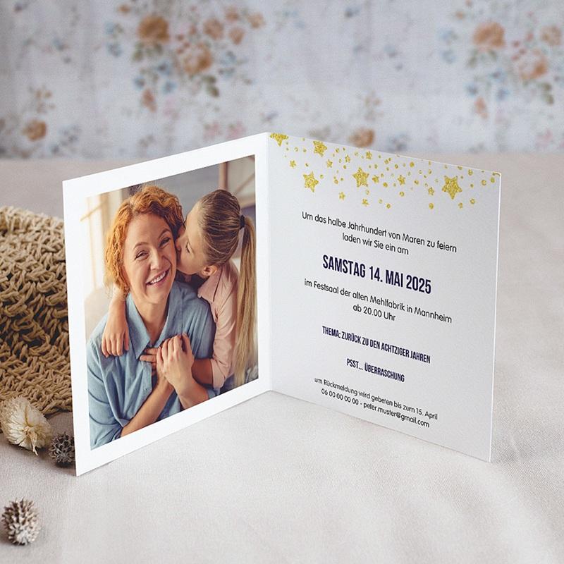 50 Jahre Alt Einladungskarten Geburtstag 50 Jahre, Relieflack, Klappkarte, Quadratisch pas cher