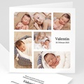 Geburtskarten für Jungen Multifotos, Quadrat, Klappkarte