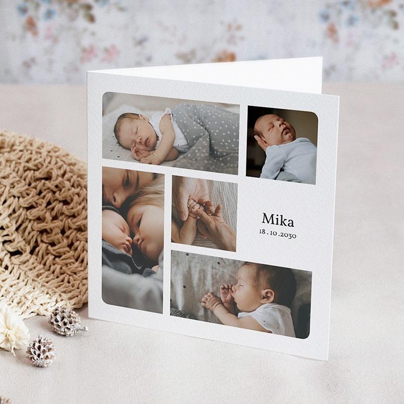Geburtskarten Multifotos, Quadrat, Klappkarte