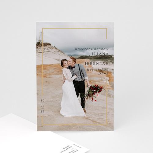 Dankeskarten Hochzeit mit Foto Golden Frame, Foto, 10 x 15