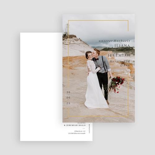 Dankeskarten Hochzeit mit Foto Golden Frame, Foto, 10 x 15 gratuit