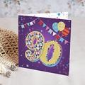 Erwachsener Einladungskarten Geburtstag Zirkus, 90 Jahre, Relieflack, 1 Foto, Klappkarte