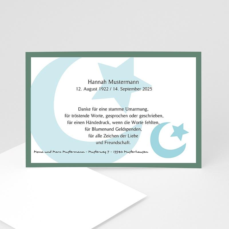 Muslimisch Dankeskarten Trauer Mond und Sichel - Blau
