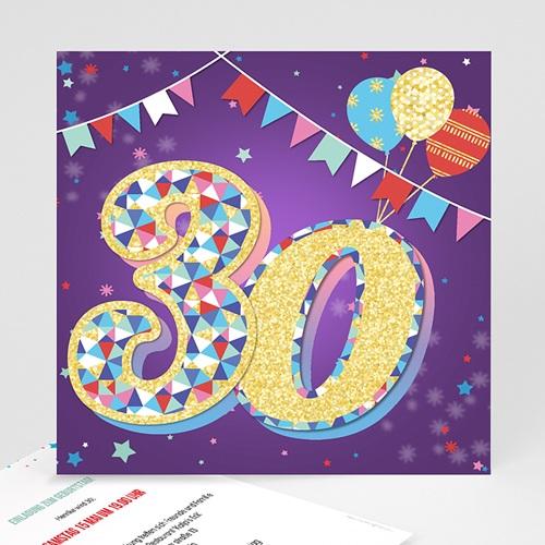 30 Jahre Alt Einladungskarten Geburtstag Zirkus, Relieflack, Quadrat, 30 Jahre