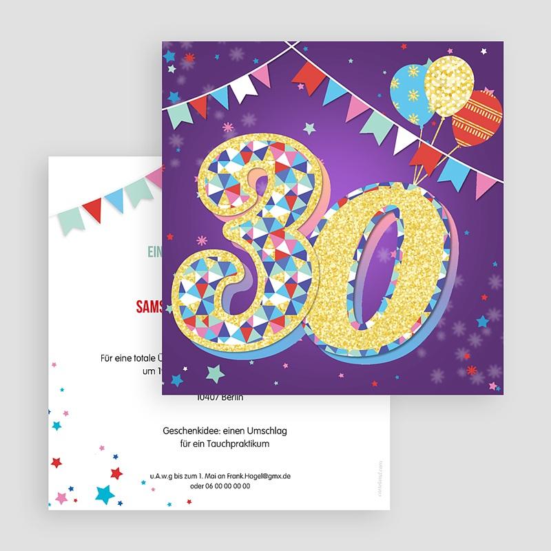 30 Jahre Alt Einladungskarten Geburtstag Zirkus, Relieflack, Quadrat, 30 Jahre gratuit