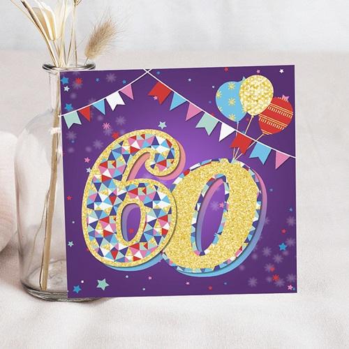 60 Jahre Alt Einladungskarten Geburtstag Zirkus, Relieflack, 60 Jahre, Quadrat
