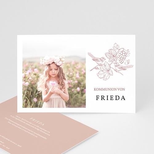 Einladungskarten Kommunion mit Fotos Vögel und Foto, Weinstock, Rosa