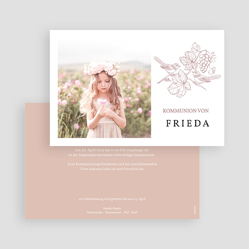 Einladungskarten Kommunion mit Fotos Vögel und Foto, Weinstock, Rosa gratuit