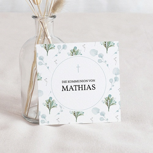 Einladungskarten Kommunion fur Jungen Blumenmedaillon, blaugrau, 10 x 10