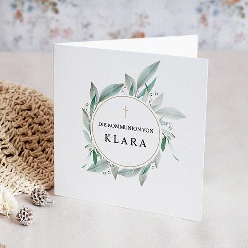 Einladungskarten Kommunion fur Mädchen Blumenkranz, Medaillon und Goldkreuz