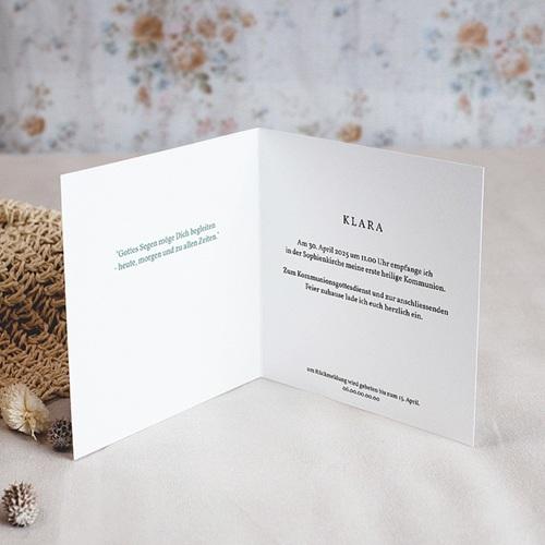 Einladungskarten Kommunion fur Mädchen Blumenkranz, Medaillon und Goldkreuz pas cher