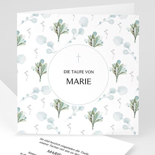 einladungskarten taufe für mädchen blütenmedaillon