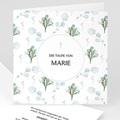 Einladungskarten Taufe für Mädchen Blütenmedaillon, blaugrau, 14 x 14