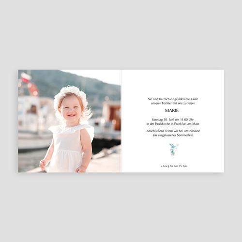 Einladungskarten Taufe für Mädchen Blütenmedaillon, blaugrau, 14 x 14 pas cher