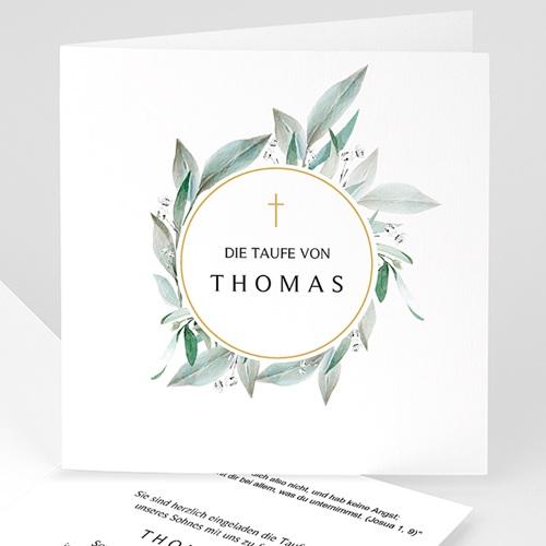 Einladungskarten Taufe für Jungen Blumenkranz, Goldmedaillon, 14 x 14