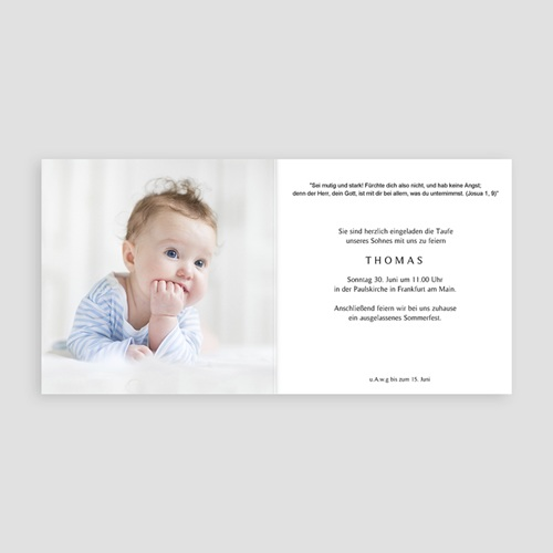 Einladungskarten Taufe für Jungen Blumenkranz, Goldmedaillon, 14 x 14 pas cher