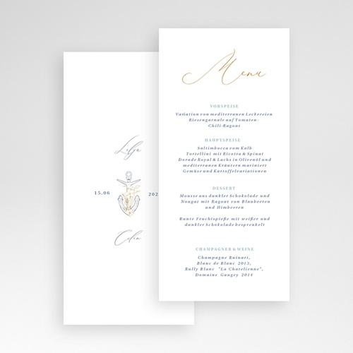 Menükarten Hochzeit Hochzeit am Meer 21 x 10 cm pas cher