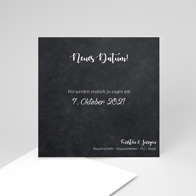 Change The Date Hochzeitskarten Datum verschoben, Schiefer, 10 x 10 cm
