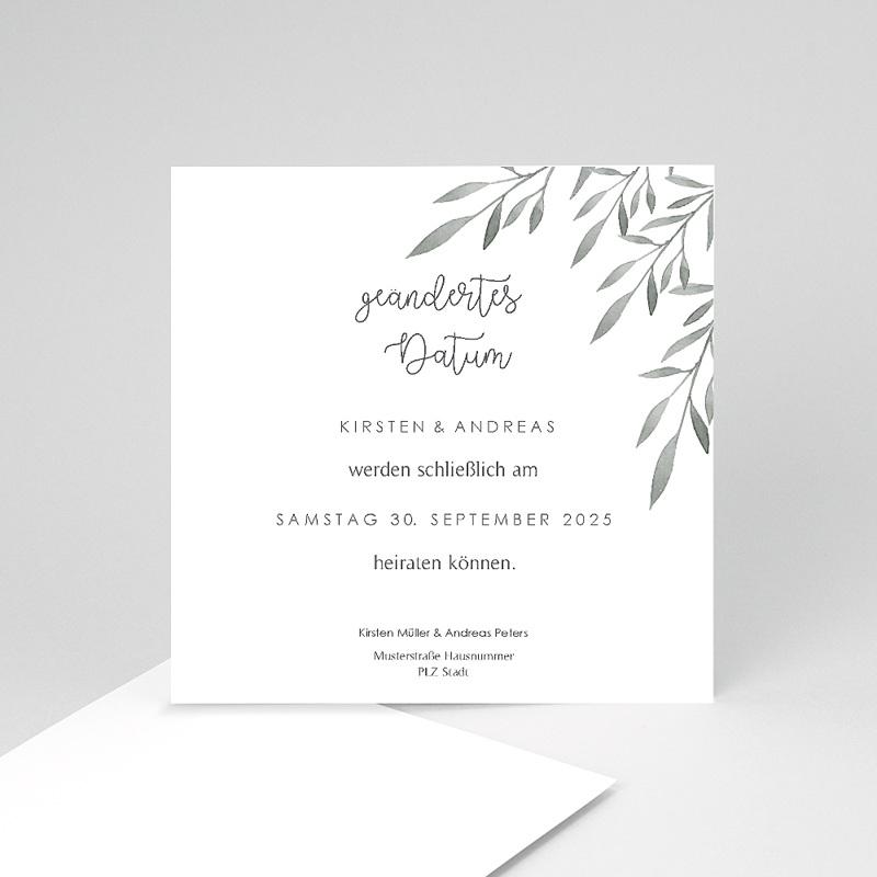 Change The Date Hochzeitskarten Olivenzweige Aquarell