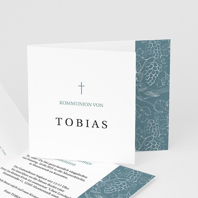 Einladungskarten Kommunion fur Jungen Blauer vögel, Weinstock, 12 x 10